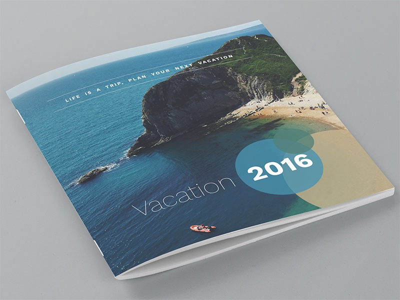 Square Brochure Front/Back Cover Design trip holiday magazine cover design brochure