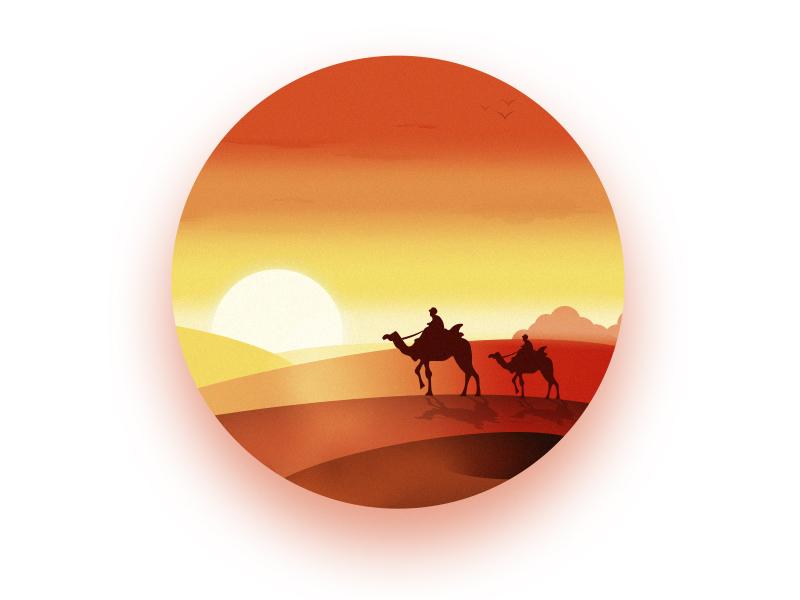 Sunset in Desert! sky circle icon camel hot orange color design graphic sunset sun desert