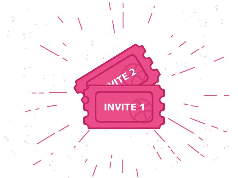 2 Dribbble Invites color pink icon graphic ticket invitation invite dribbble