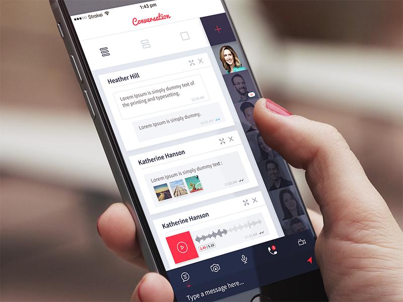 Conversation Screen design ios mobile ui app text chat message conversation