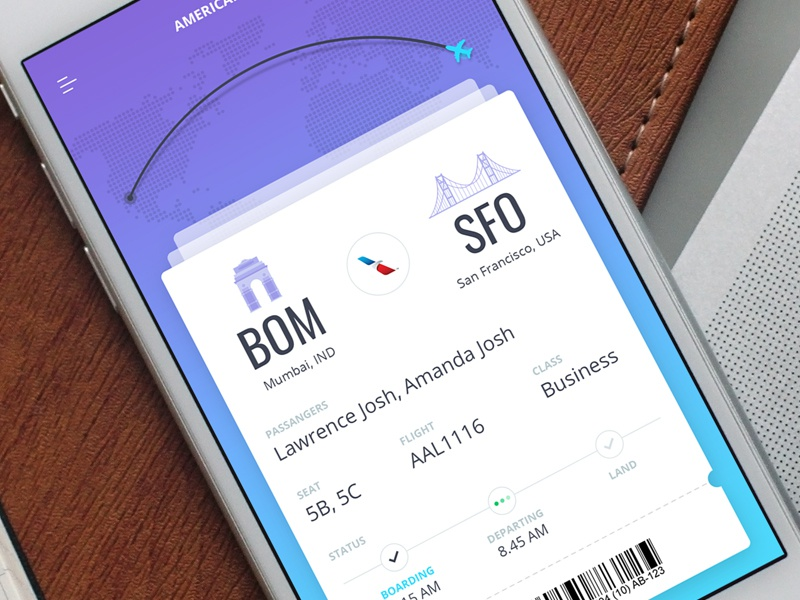 UI Design for Flight App illustration booking boarding ios tracking track app design ui plane flight