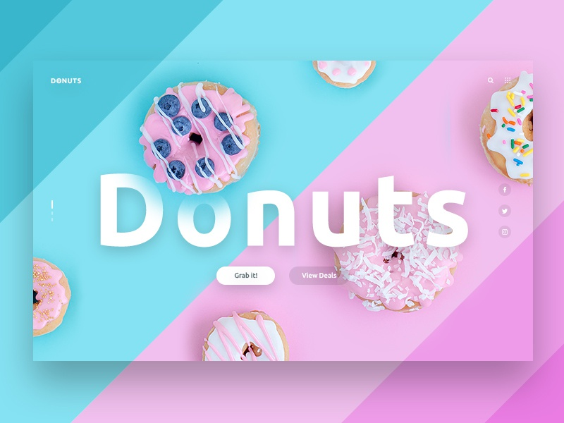 Donuts | Landing Page UI minimal doughnut donut design wesite web ui ux messanger app color icon