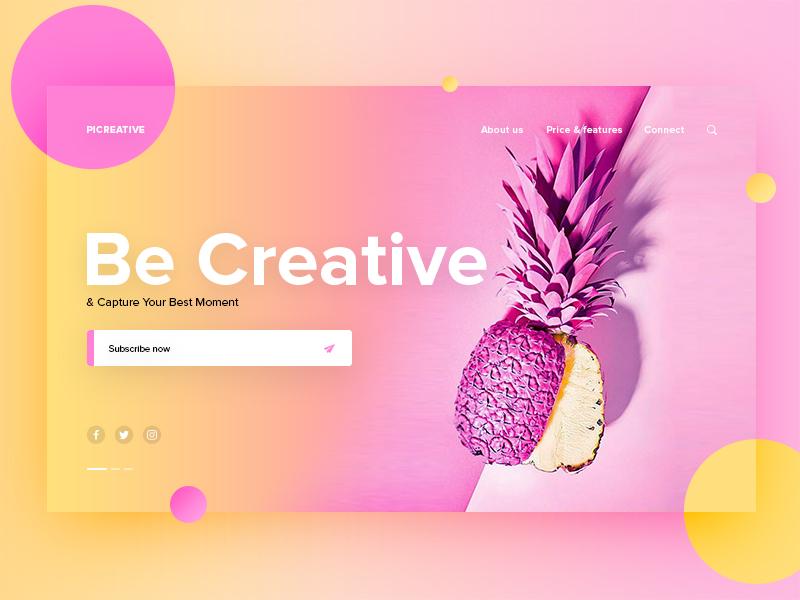 Picreative | Landing Page UI creative photos icon color app ux ui web wesite design minimal