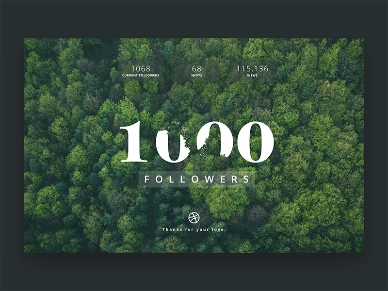 1K+ Followers dribbble clean minimal photo uidesign design follow followers app ui