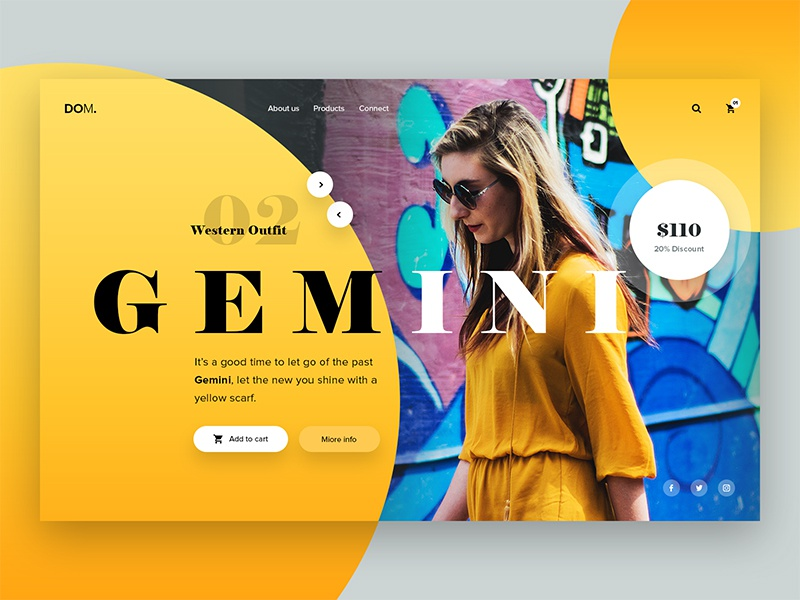 DOM Landing Page UI creative icon color app ux ui web wesite design minimal fashion landingpage