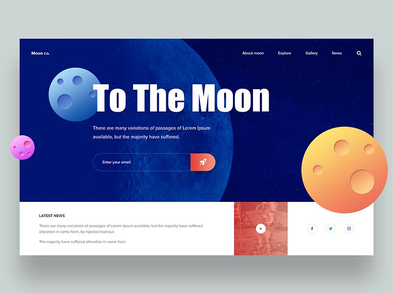 Moon co Landing Page landingpage fashion minimal design wesite web ui ux app color icon creative