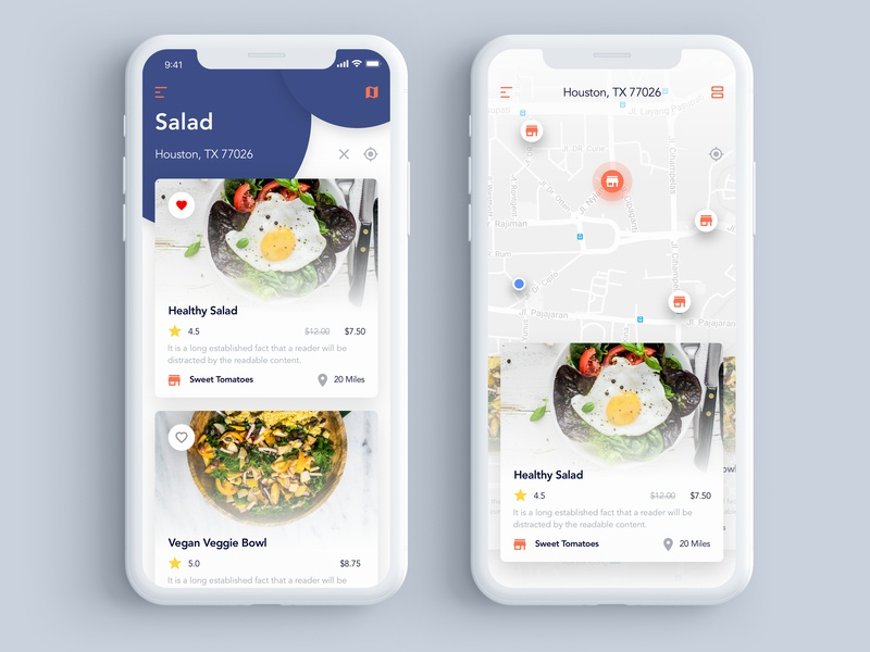 Food Explorer App UI 01 ios creative icons ux dribbble flat app minimal graphic design icon ui