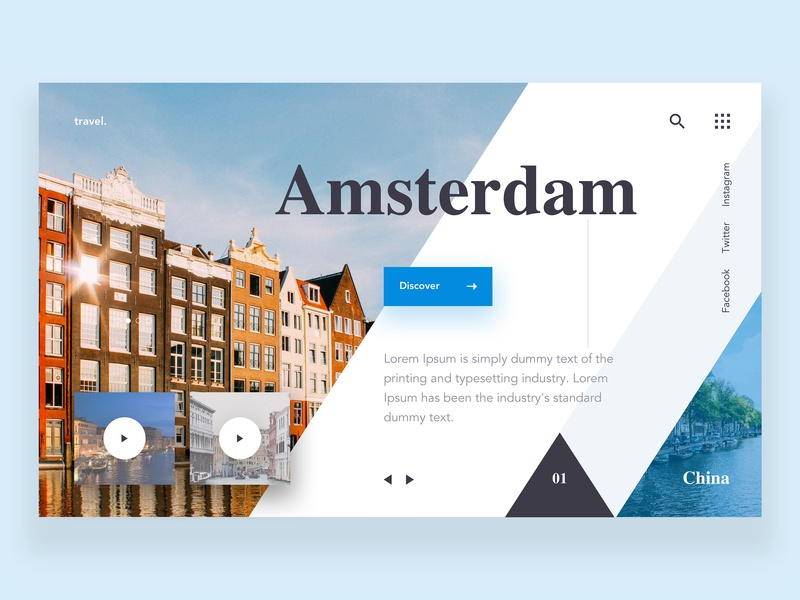 Travel Web Page UI discover explore dribbble minimal landingpage website web design ui travel