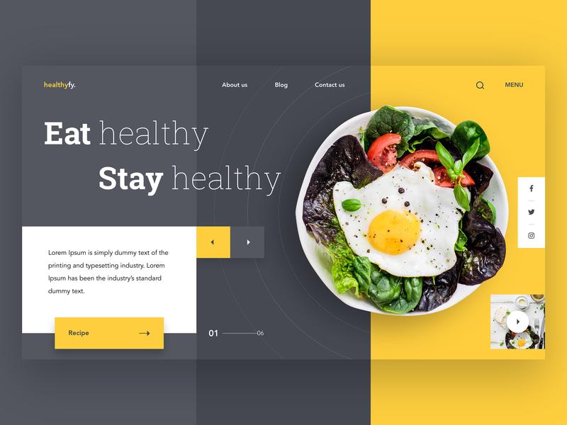 Healthyfy Landing Page UI landingpage uxdesign uidesign healthy food salad graphic icons dribbble minimal design website ui