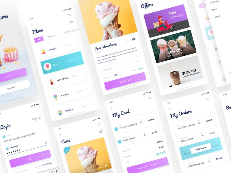 Moocream App UI Kit ecommerce app shopping app icon icons minimal dribbble graphic uidesign iccream design ui