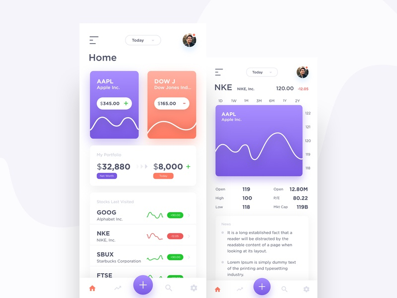 Stock App Exploration design app minimal dribbble android ios mobile app user interface stock market stock app stock app design ui