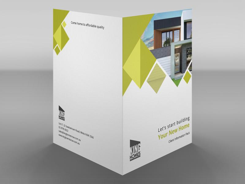 Folder design - King Homes illustration dribbble home furniture envelope stationary design vector print folder design folder graphic