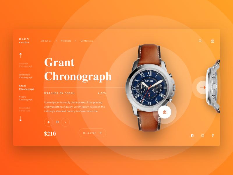 OZON Watches UI website banner homepage landingpage webpage uiux ux watches minimal webdesign website design ui