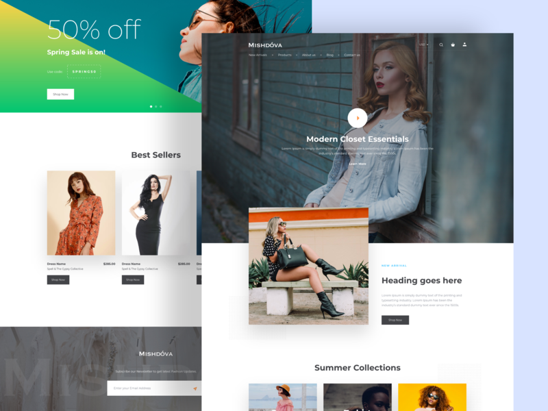 Mishdova - Homepage Design design minimal webdeisgn user experience user interface ui  ux design website builder clothes fashion webdesign website