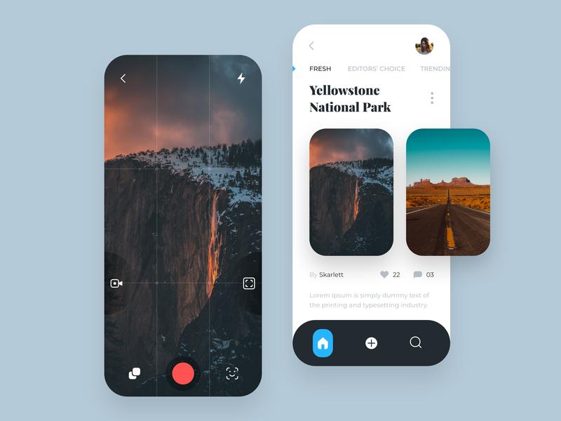 Camera App Concept app minimal video cards user inteface mobile app design mobile app camera app ui design ui  ux design ui  ux ui