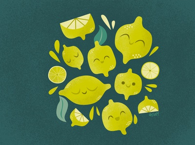Lemons fresh summer cute lemons illustration