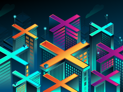 Isometric illustration of the night city