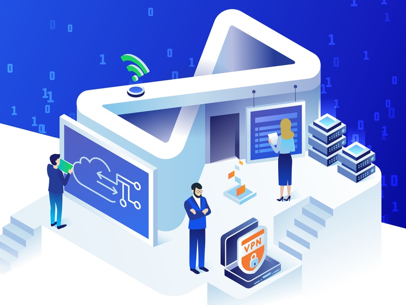 Isometric illustration for Infinity Telecom website by