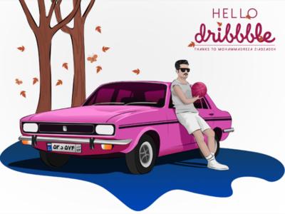 Hello Dribbble! vector autumn ball basketball sabernoori persian car peykan iran dribbble