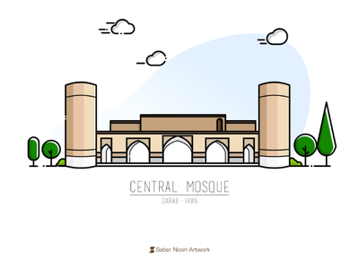 Central Mosque of Darab flat illustration dribbble persian islamic islam mosque buliding darab shiraz fars iran