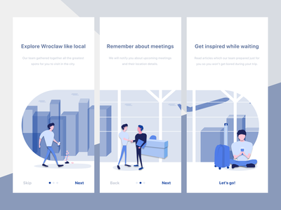 Divante Travel Guide On-boarding pwa divante ux airport city illustration office icons office plane travel app illustration branding vector ui design