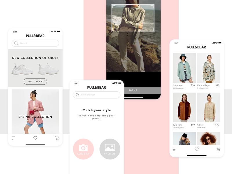 Concept for Pull&Bear - visual search ecommerce design apple product concept white app ios ui progressive web app design ecommerce divante pwa pullbear clean search engine search visual iphone
