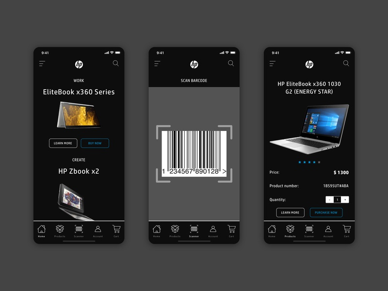 Concept for HP with barcode scanner by Divante on Dribbble