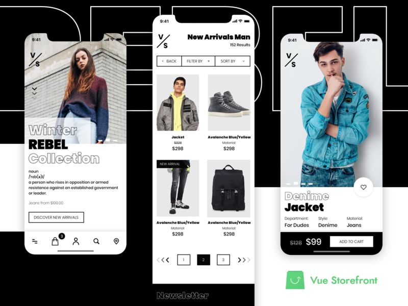 PWA concept for Vue Storefront Fashion Shop by Divante on