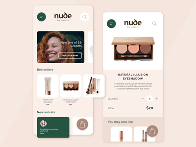 PWA concept for Nude by Nature apple flat design beauty app beauty iphone concept ios ecommerce design clean progressive web app design ecommerce pwa divante