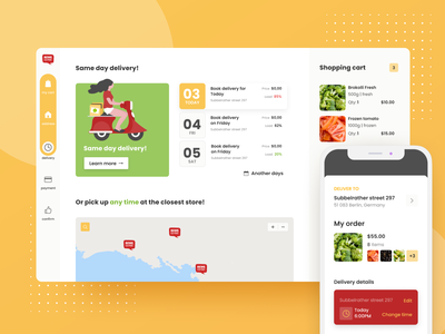Online delivery system optimization concept for REWE ecommerce design progressive web app mcommerce concept redesign layout ecommerce divante design pwa ui uxui ux webapps delivery eshopping shopping egroccery rewe