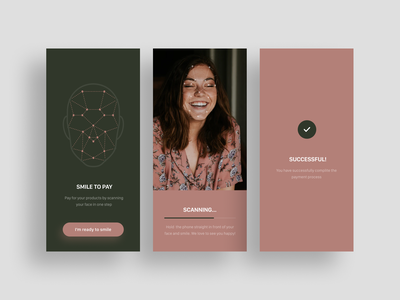 Payment finalization concept with facial recognition clean ui concept mobile design mobile app innovations facial recognition face scan interface layout mobile payments mobileapp mobile innovationlab design divante