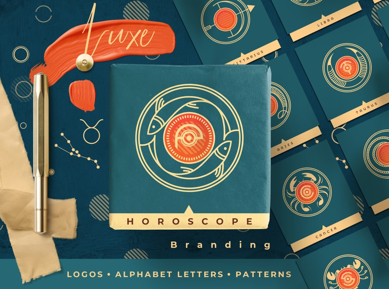Luxe Horoscope Branding logo badges illustration line art branding symbols logo sign alphabet logo astrology zodiac horoscope templates vectors logo design