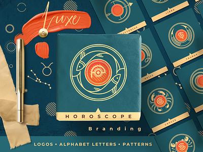 Luxe Horoscope Branding logo badges illustration line art branding symbols logo sign alphabet logo astrology zodiac horoscope templates vectors logo design