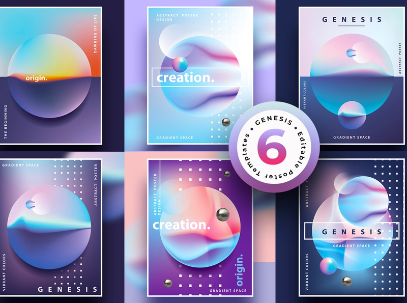 Genesis Poster Templates 3d planets fluids vibrant colors landscape universe space spheres semmi-surreal gradient design illustrations minimalism abstract colorful geometric illustration vector poster genesis poster templates