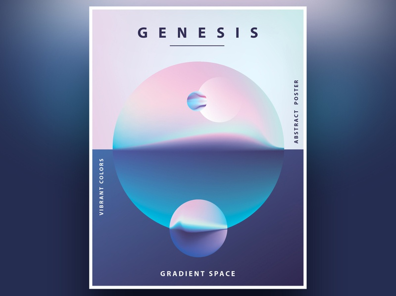 Genesis Poster Templates landscape poster design space gradient template design minimalism abstract colorful geometric illustration vector