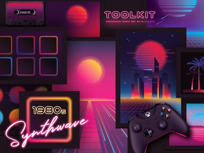 1980s Synthwave Toolkit synth neon neon colors neon light vector illustration abstract colorful gradients toolkit cyberpunk outrun retrowave 80s style 80s synthwave