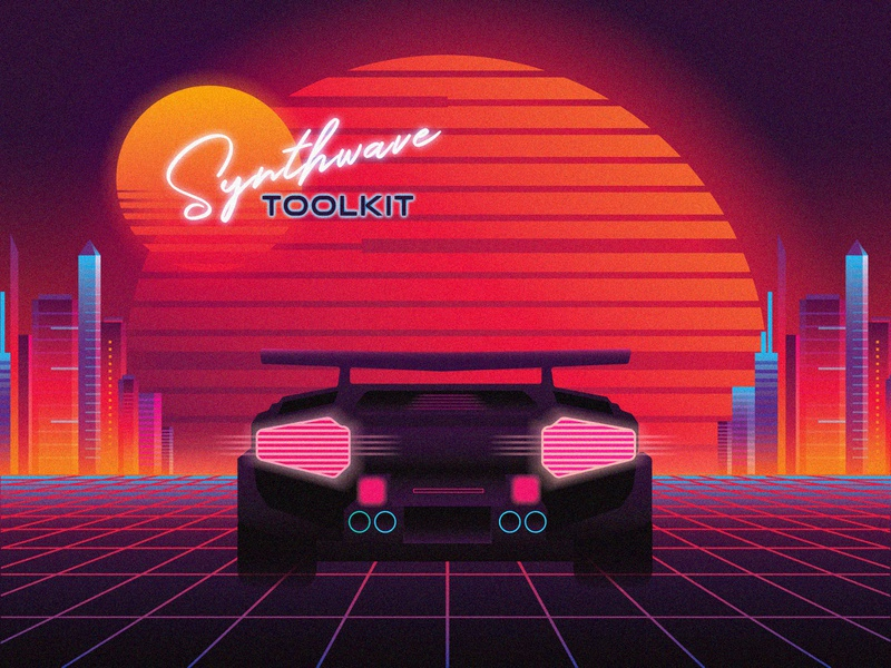 1980s Synthwave Toolkit neon colors neon city neon light 80s 1980 outrun gradient colorful illustration vector sci-fi cyberpunk sunset summer retro retrowave synthwave synth