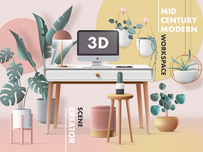 3D Workspace Scene Creator colorful vector ui work from home office space retro office mid century mid century modern 3d scene 3d scene creator header image web illustration 3d workspace vector illustration 3d illustration 3d
