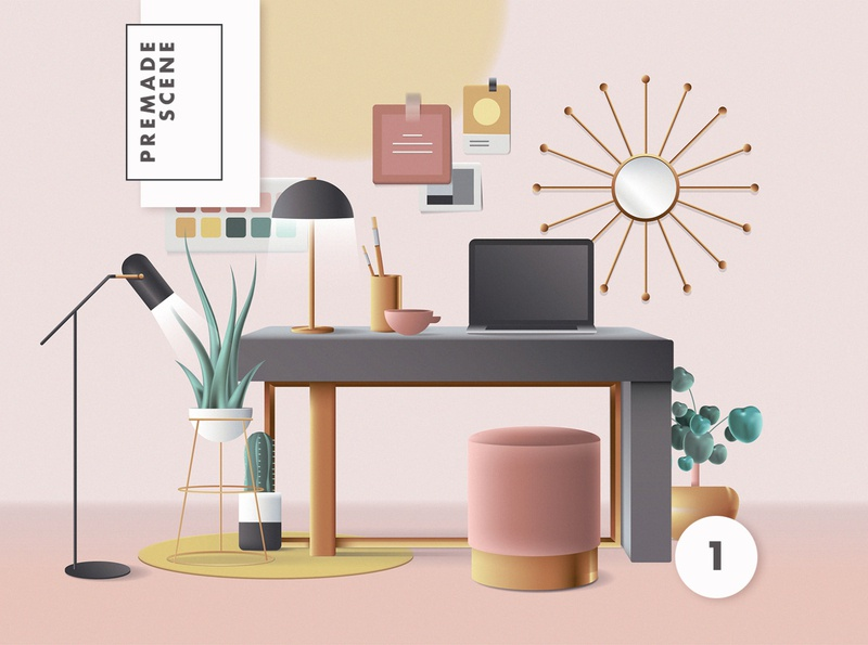3D Workspace Scene Creator colors ui geometric vector colorful design header web illustration work from home retro illustration office space mid century mid century modern 3d illustration 3d workspace 3d
