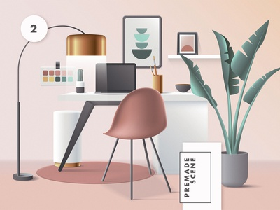 3D Workspace Scene Creator colorful geometric vector web ui work from home office header website illustration workspace mid century modern mid-century 3d illustration 3d