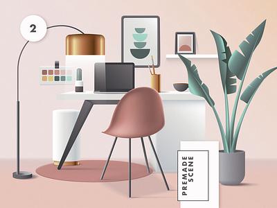 3D Workspace Scene Creator colorful geometric vector web ui work from home office header website illustration workspace mid century modern mid-century 3d illustration 3d