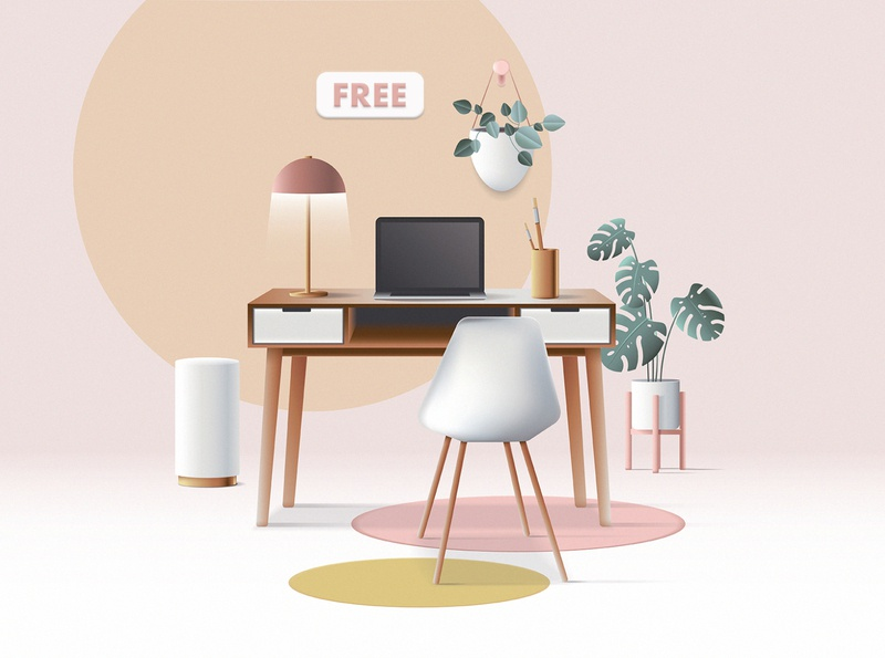 3D Workspace Scene Creator Freebie branding ui colorful geometric vector scene generator scene creator freebie free retro mid century modern work from home home office office space workspace web illustration 3d illustration 3d
