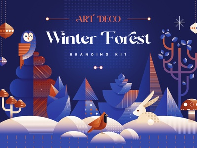 Art Deco Winter Forest Branding Kit winter holidays winter scene scene creator decorative vector packaging design christmas tree owl hare christmas card woods forest animal abstract illustration geometric winter branding christmas art deco