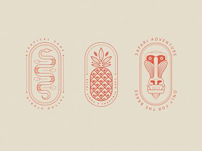 Tropical Logo Templates brand design branding concept illustraion logo marks line art snake logo pineapple logo mandrill logo tropical logos logo badges logo templates vector logos