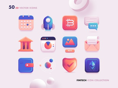 3D Fintech Icon Collection investing bitcoin finance icons cryptocurrency icons crypto wallet technology icons fintech icon design icon pack user interface ui design colorful skeumorphic vector art vector icons 3d icon set 3d 3d art