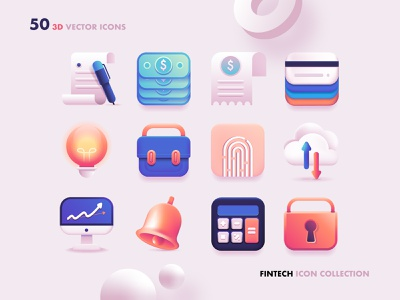 3D Fintech Icon Collection technology icons finance icons cryptocurrency icon pack 3d illustration branding colorful icons graphic resources web icons fintech user interface ui neumorphic skeuomorphic vector icons vector art 3d icon set 3d icons 3d art 3d