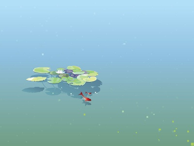 Water Lily Pads Floating In A Lake water lily goldfish contemporary minimalistic illustration vector freshwater surface floating leaves flower lotos