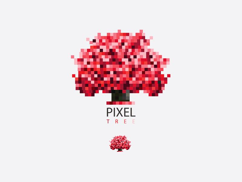 Red pixel tree