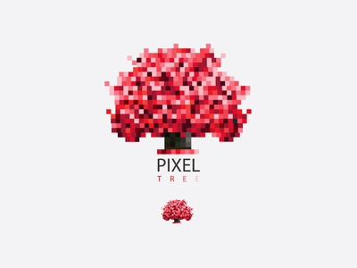 Red Pixel Tree abstract growth illustration vector mark icon logo vibrant wood tree red pixels