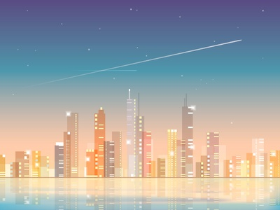 City Skyline At Night panoramic skyline night lights vector colorful abstract architecture transparent buildings skyscrapers city